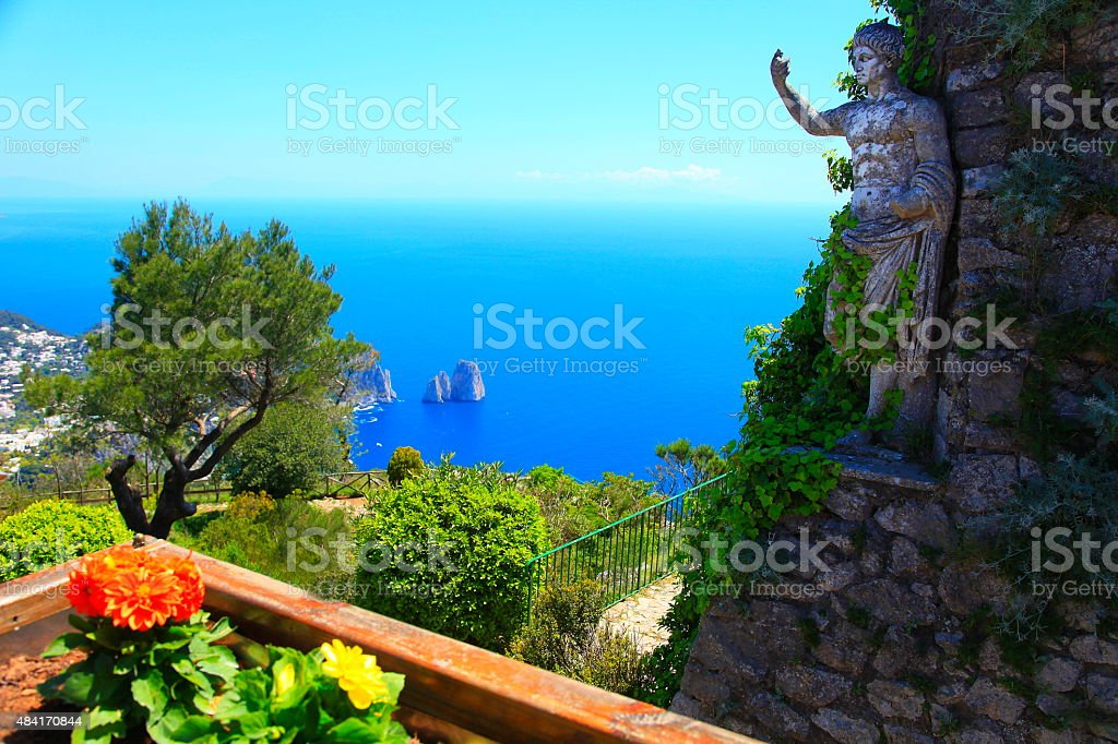 Capri aerial panorama and Augustus from Roman Empire stock photo