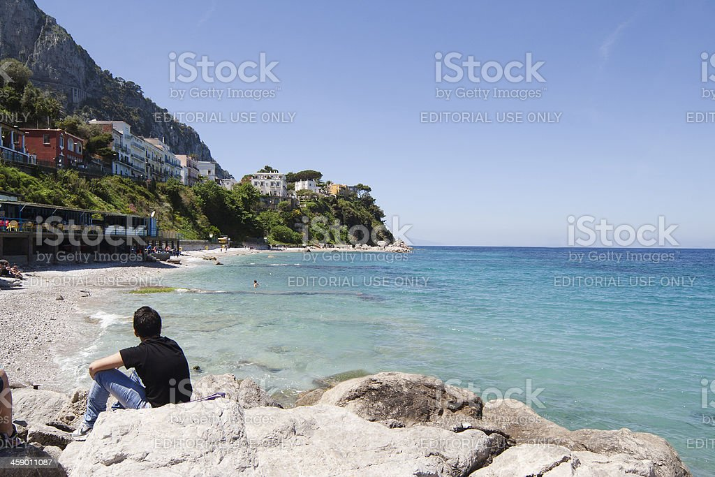 Capri, Beach with People royalty-free stock photo