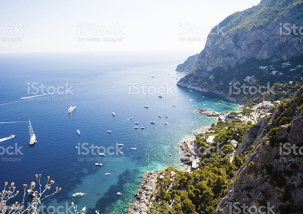 Capri coast view stock photo