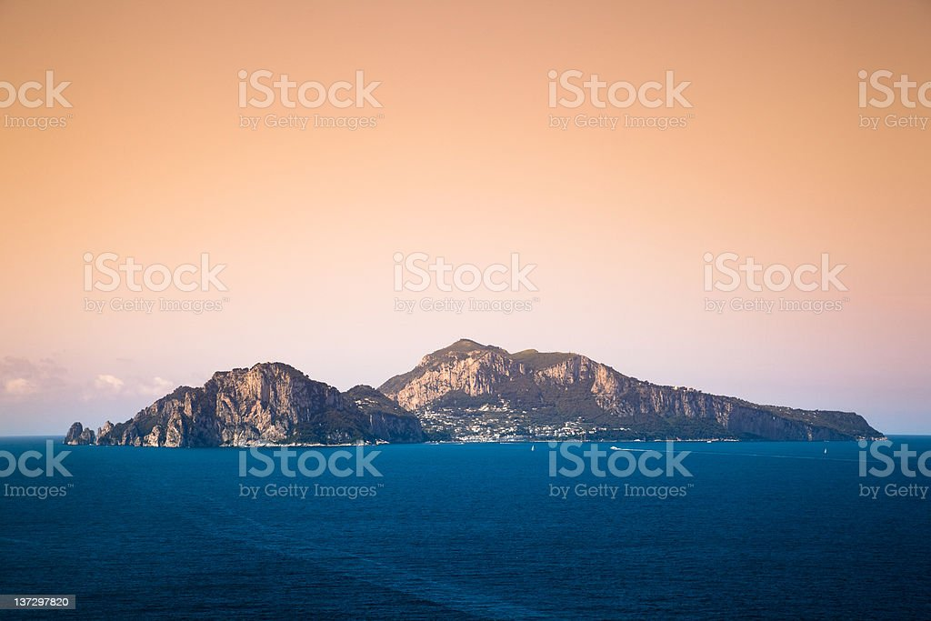 Capri Island At Sunset, Bay Of Naples, Italy royalty-free stock photo