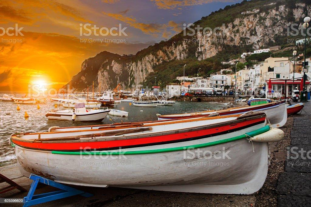 capri island fishery boat ,mediterranean sea southern of italy stock photo