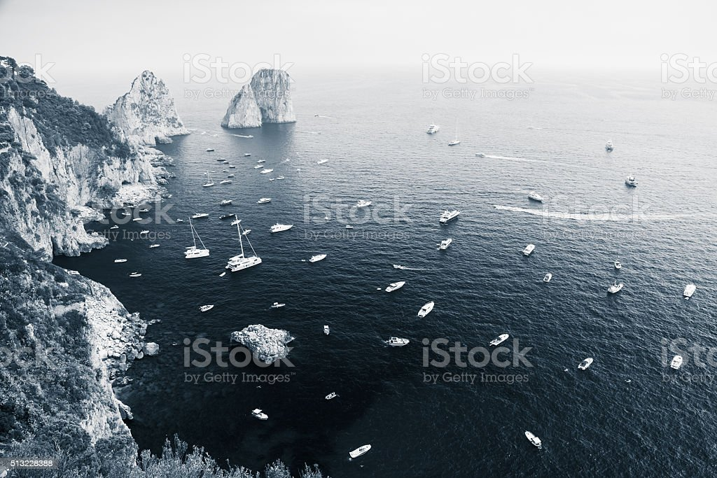 Capri island landscape, Italy. Blue toned photo stock photo