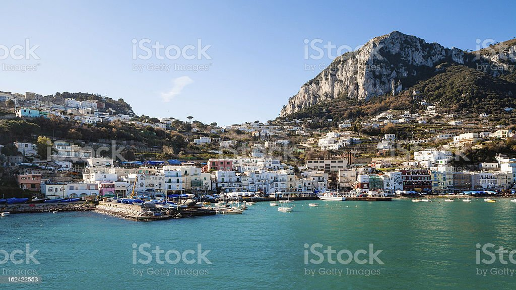 Capri Island Landscape, Marina Grande. stock photo