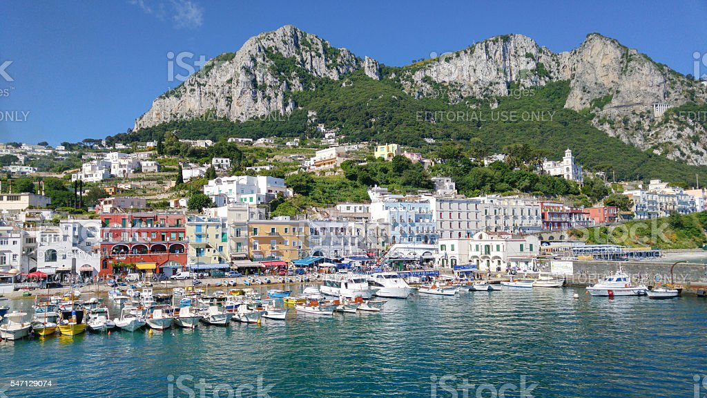 Capri Island Landscape, Marina Grande. stock photo