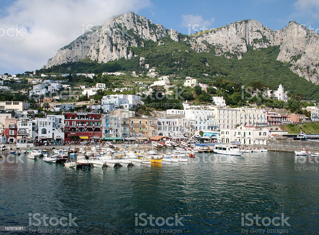 Capri island landscape of the Marina Grande stock photo