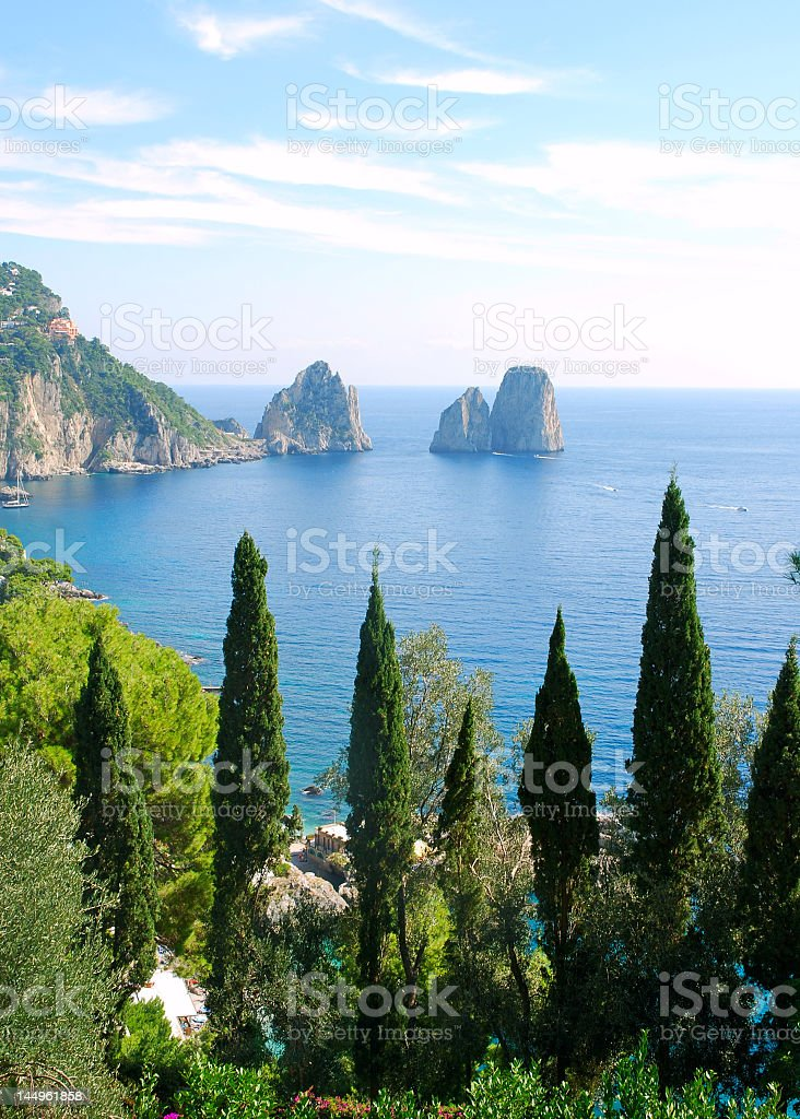 Capri island next to the ocean and green forest stock photo