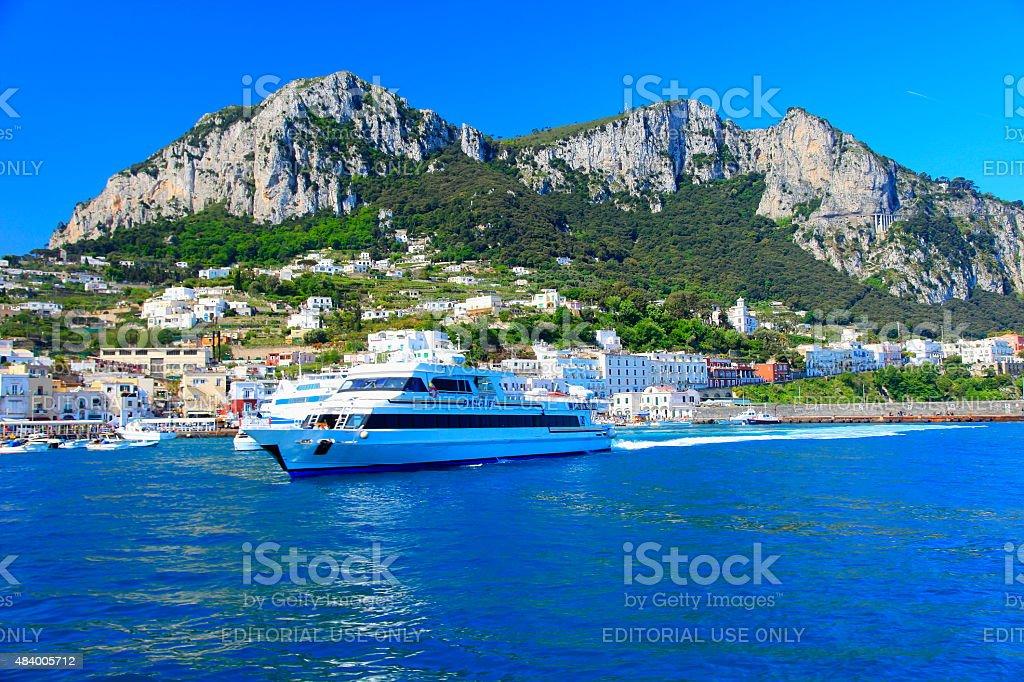 Capri island panorama from Tyrrhenian sea, Bay of Naples, Italy stock photo