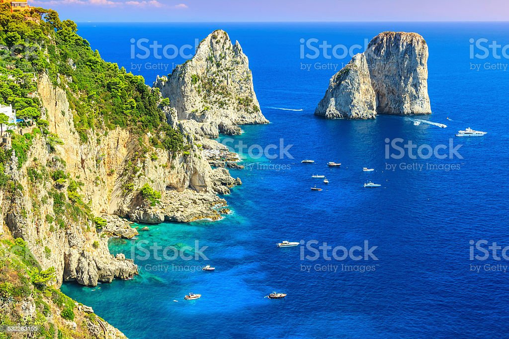 Capri island,beach and Faraglioni cliffs,Italy,Europe stock photo