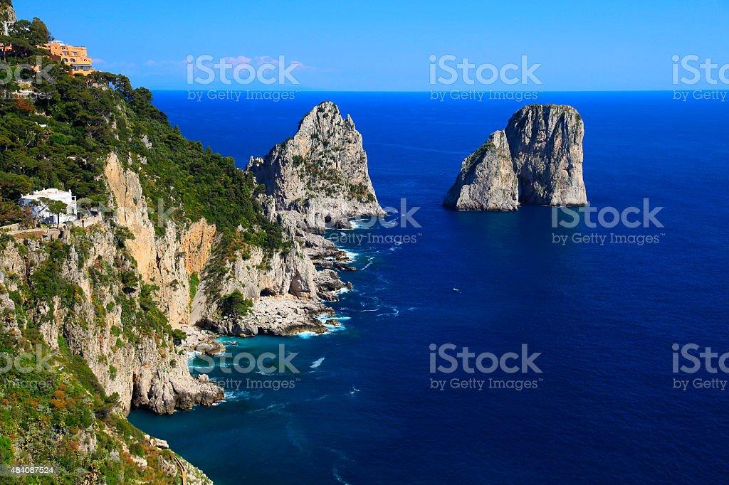 Capri panorama, Faraglioni, Tyrrhenian blue sea, Bay of Naples, Italy stock photo