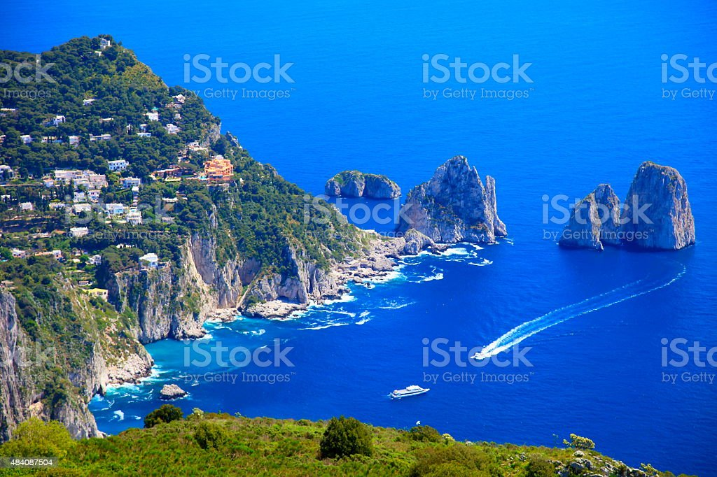 Capri panorama, Faraglioni, Tyrrhenian sea, Bay of Naples, Italy stock photo
