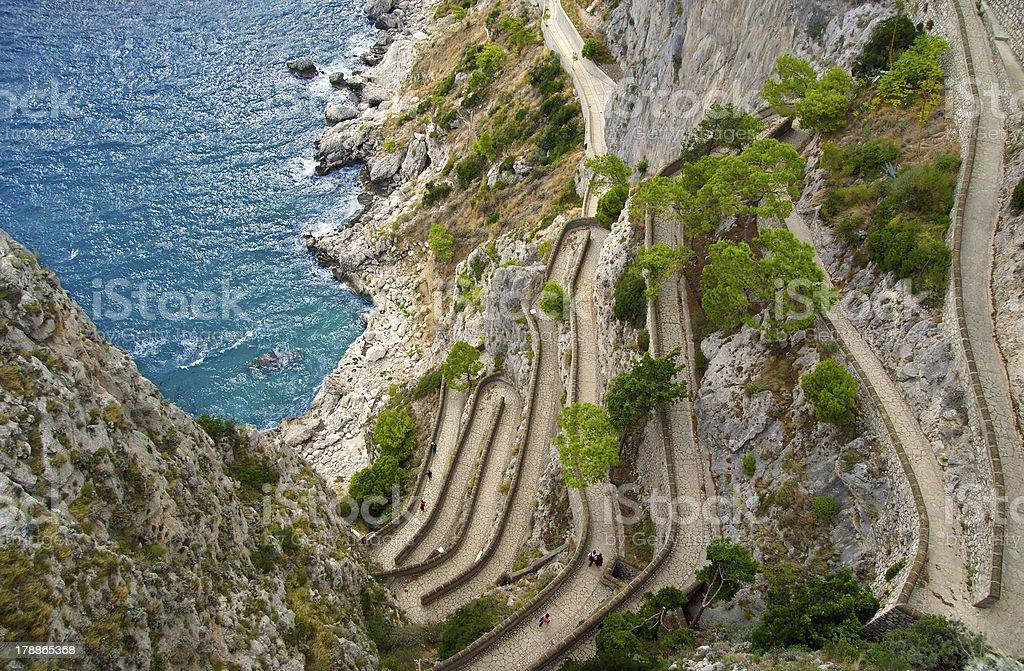 Capri, Via Krupp, Italy. stock photo