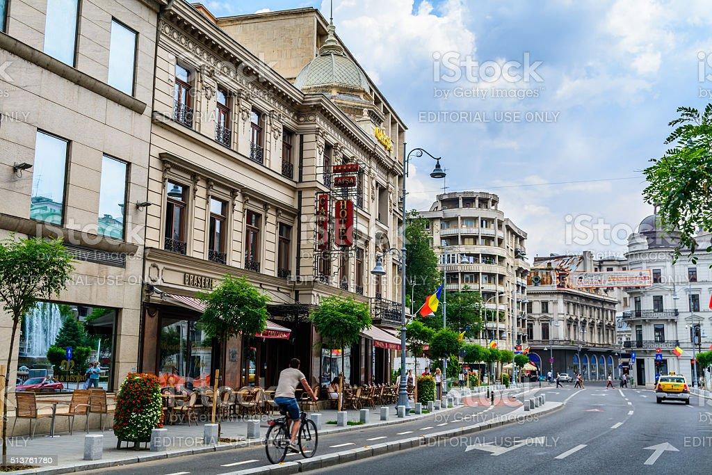 Capsa Hotel. It is historic restaurant five star hotel Bucharest stock photo