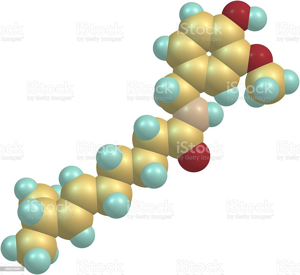 Capsaicin molecular structure royalty-free stock photo