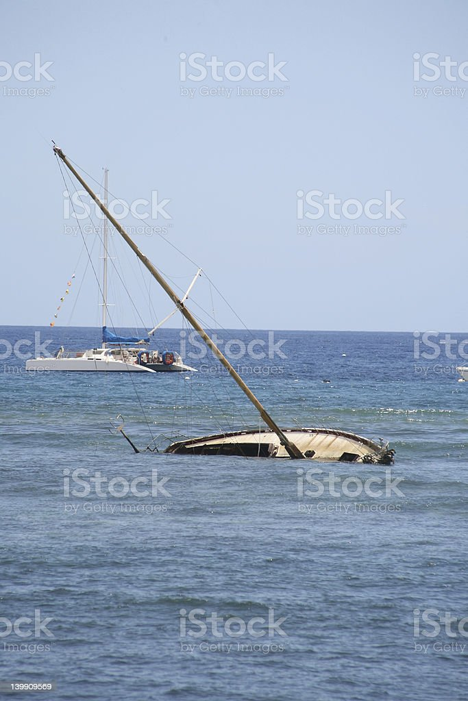 Capsized Boat in Maui royalty-free stock photo