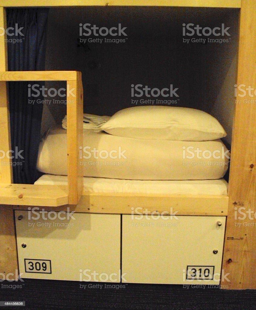 Capsule Hotel Room / Bunk Bed stock photo