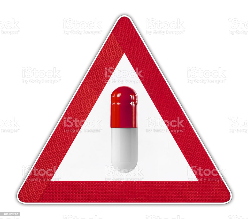 Capsule Warning Sign stock photo