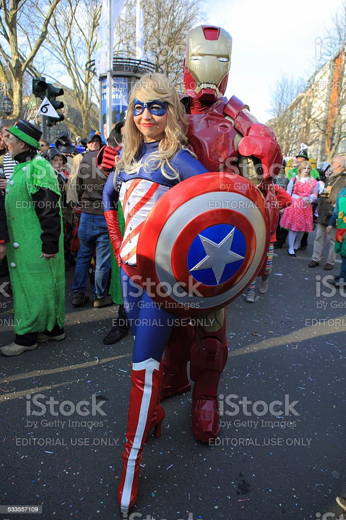 Captain America and Iron Man street carnival stock photo