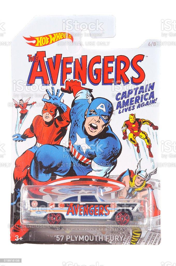 Captain America Hot Wheels Diecast Toy Car stock photo
