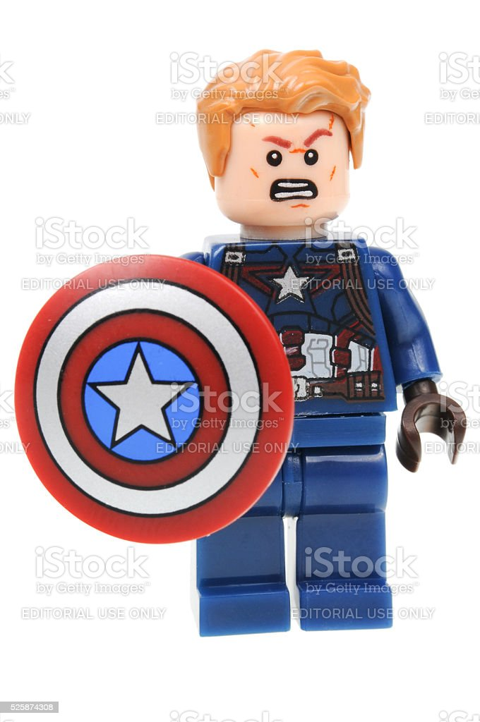 Captain America Lego Minifigure stock photo