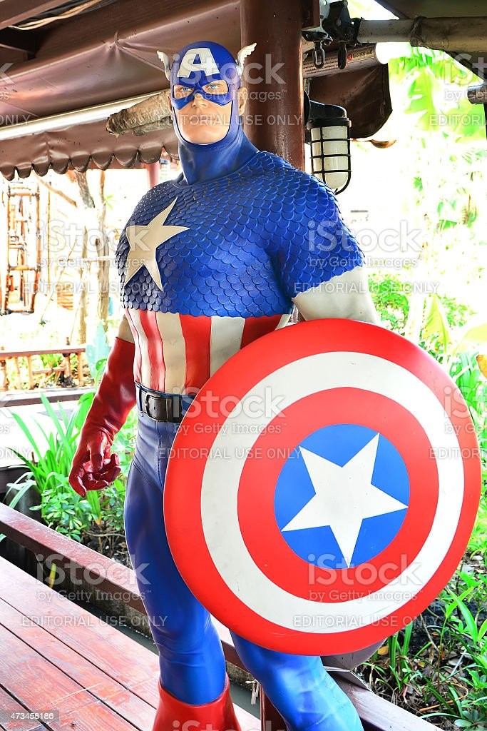 Captain America model at Thung Bua Chom floating market stock photo