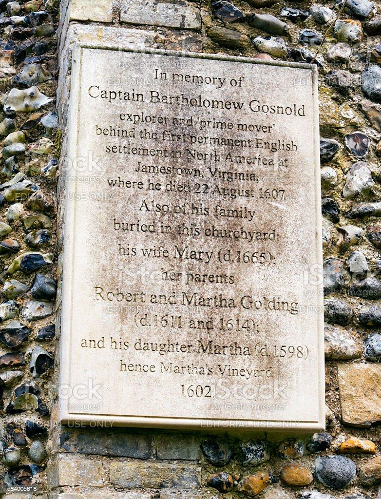 Captain Bartholomew Gosnold plaque in Bury St Edmunds stock photo