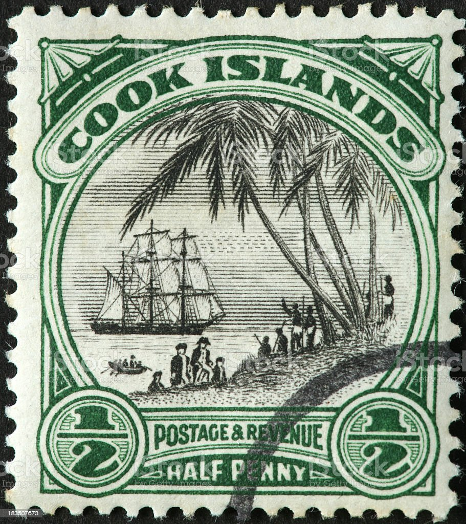 A captain cook Cook Islands postage stamp royalty-free stock photo
