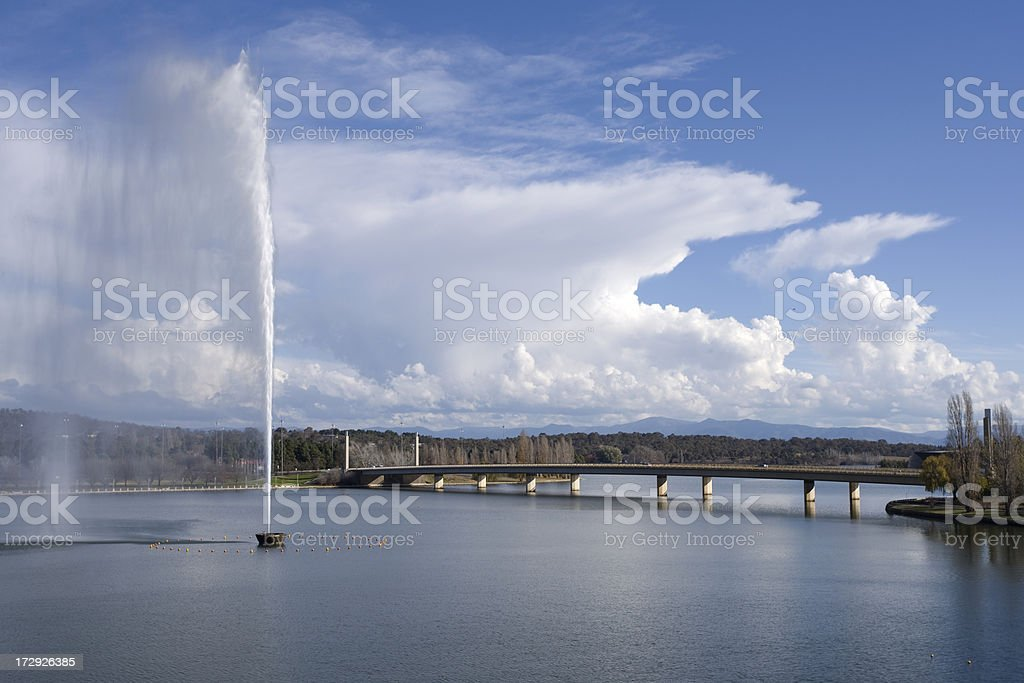 Captain Cook Memorial, Lake Burley Griffin, Canberra stock photo