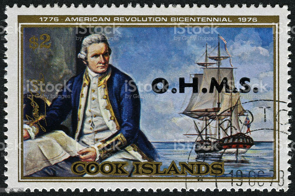 Captain Cook Stamp stock photo