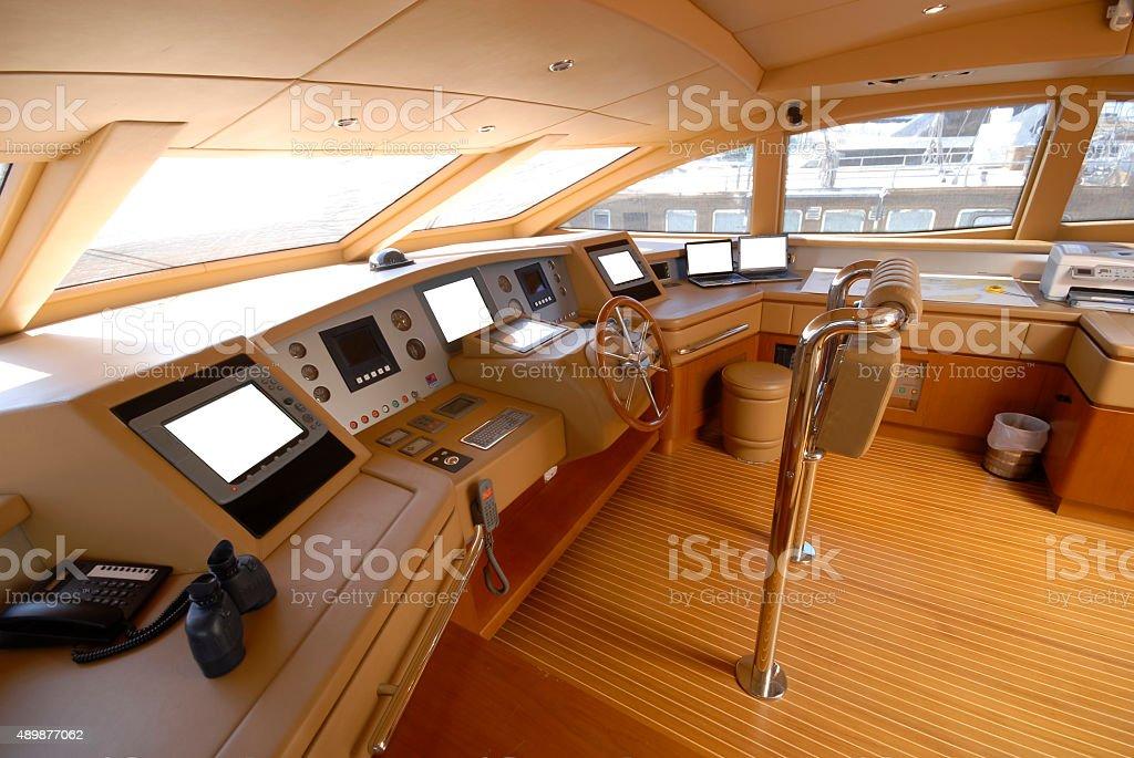 Captain Deck of Yacht stock photo