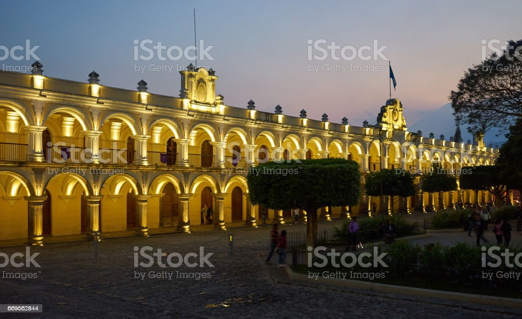 Captain General Palace in Antigua in Guatemala stock photo