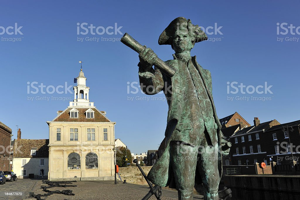 captain George Vancouver statue and  Kings Lynn custom house. stock photo