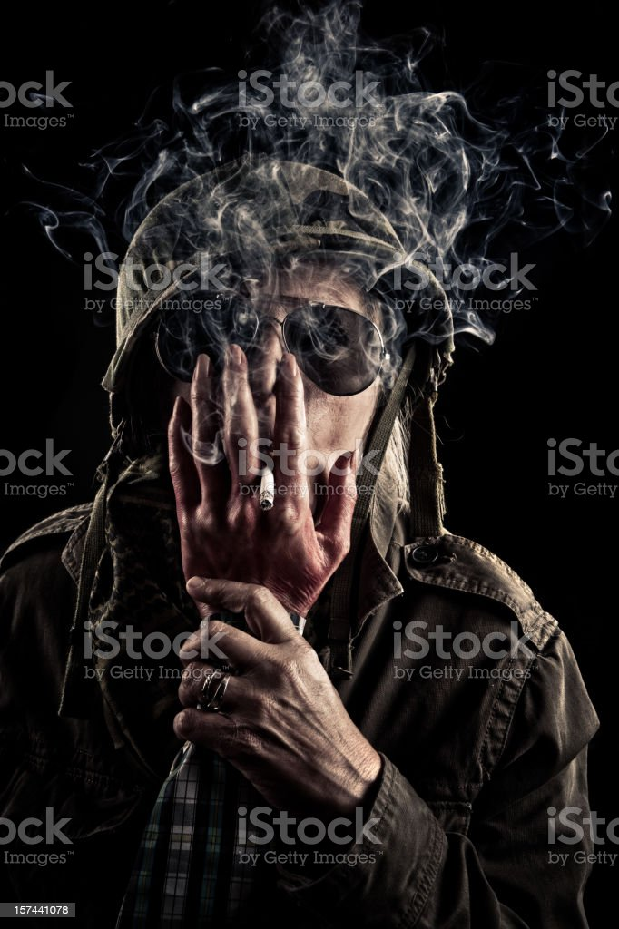 Captain Helle have smoking issues. stock photo