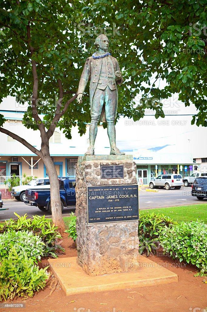 Captain James Cook Statue in Kauai, Hawaii, USA stock photo