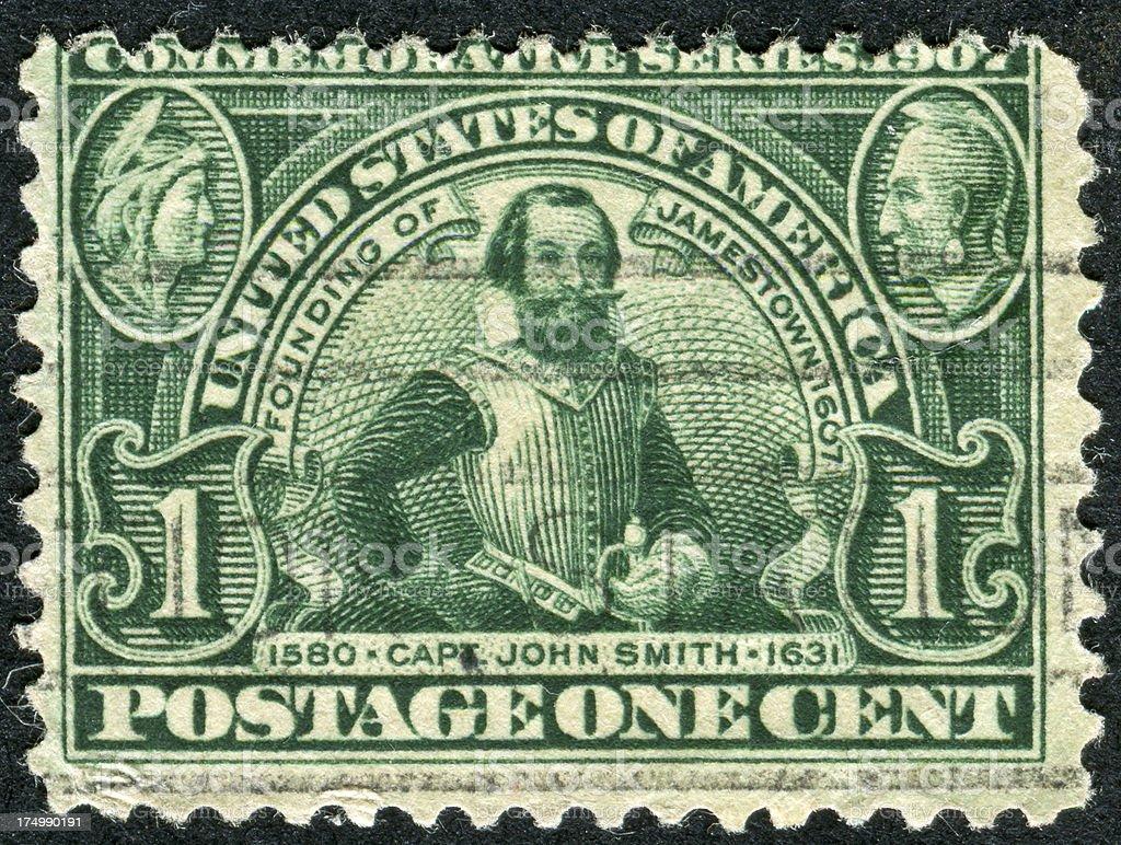 Captain John Smith Stamp stock photo