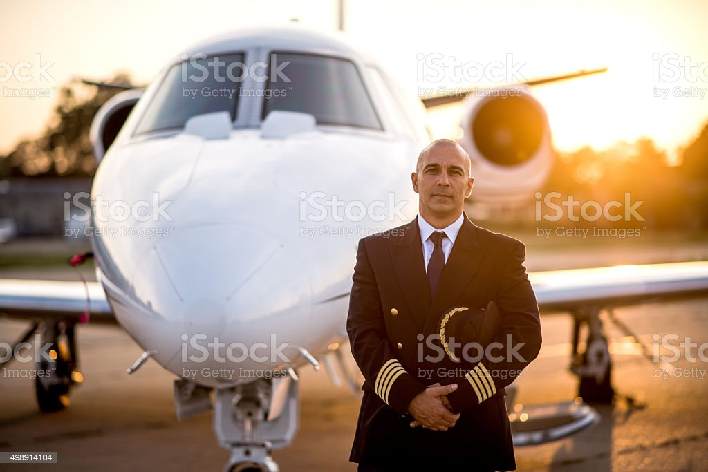 Captain of private jet aeroplane stock photo
