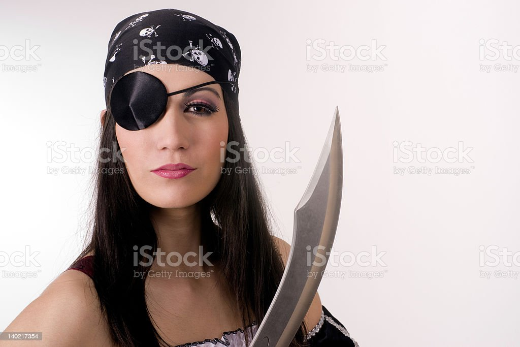 Captain Patch One Eye the Female Pirate Big Knife Blade stock photo