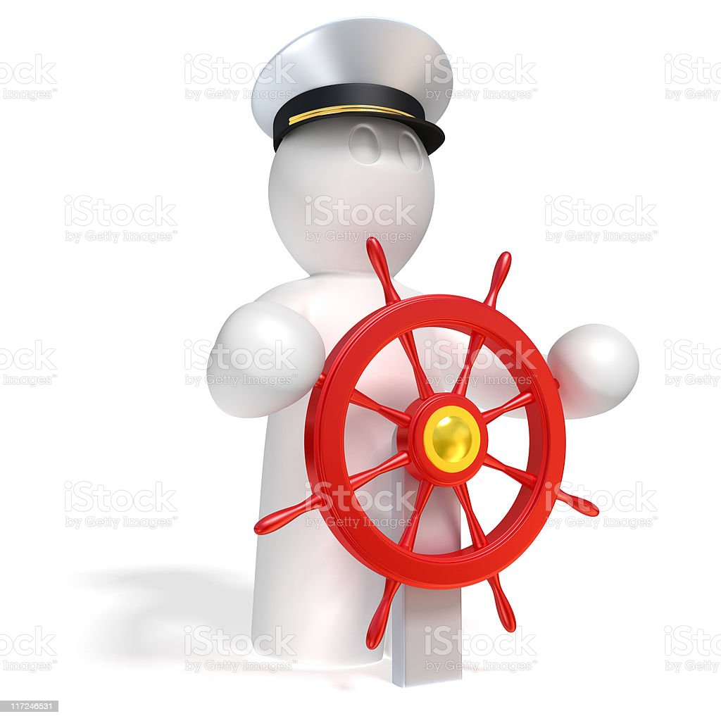 captain steersman vector art illustration