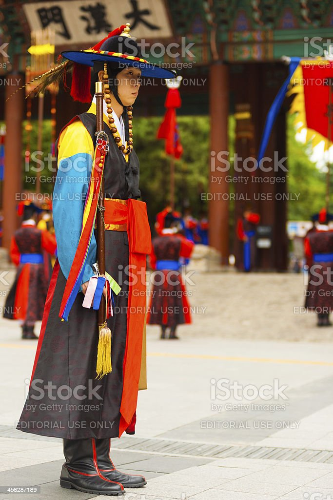 Captain Traditional Costume Guard Deoksugung royalty-free stock photo