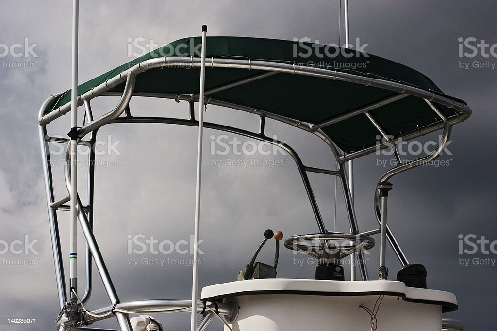 Captains Chair Awaits For Boat Captain royalty-free stock photo