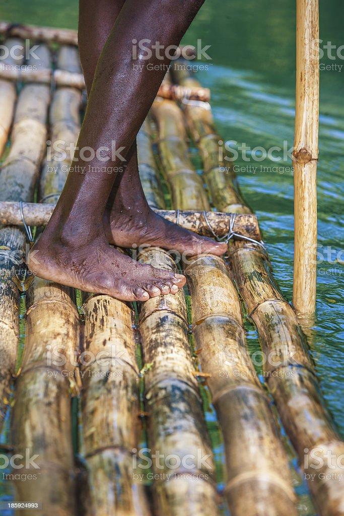 Captain's On Bamboo Boat royalty-free stock photo