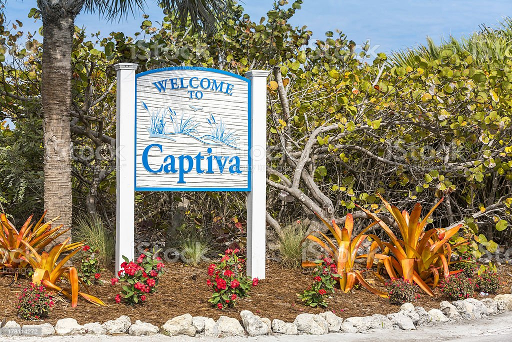 Captiva Island welcome sign in Florida stock photo