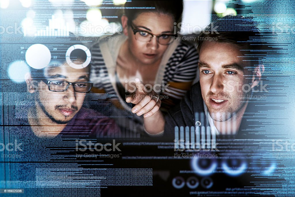 Captivated by the code stock photo
