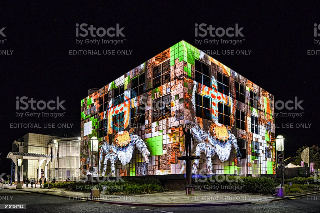 Captivating architectural projections on Questacon in Canberra. stock photo