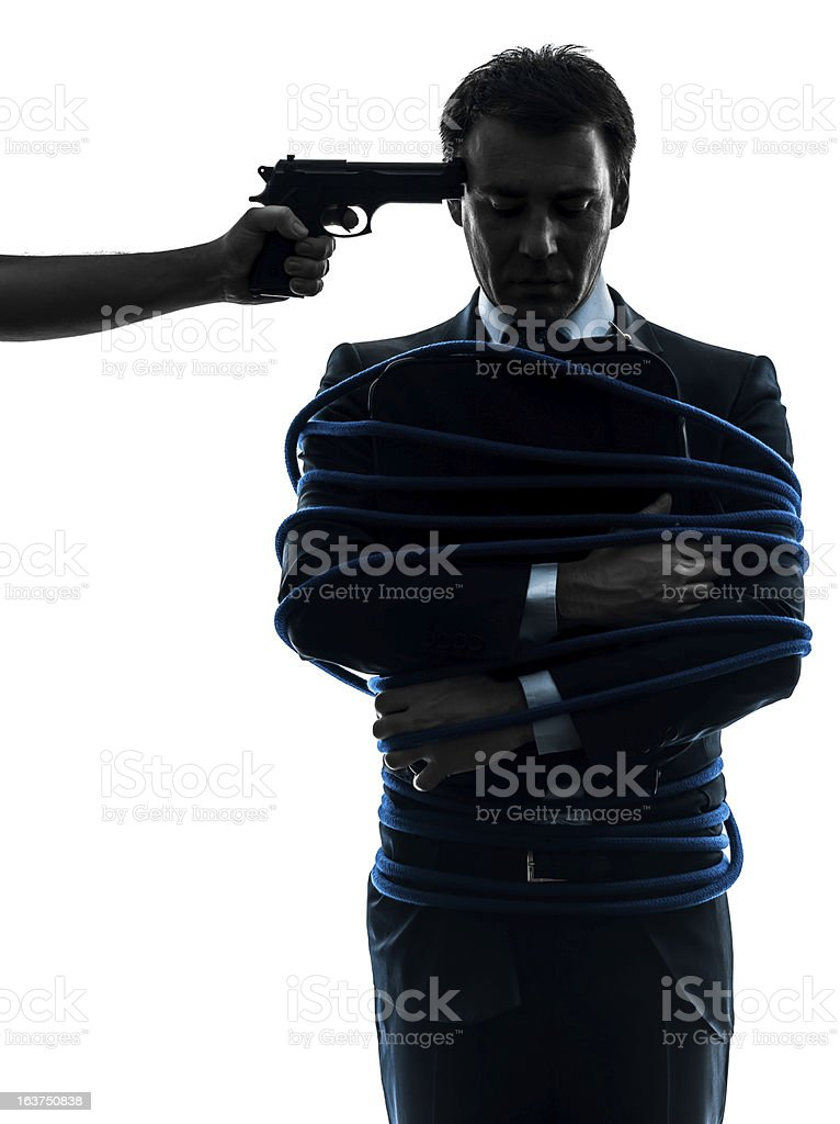 captive hostage business man silhouette royalty-free stock photo