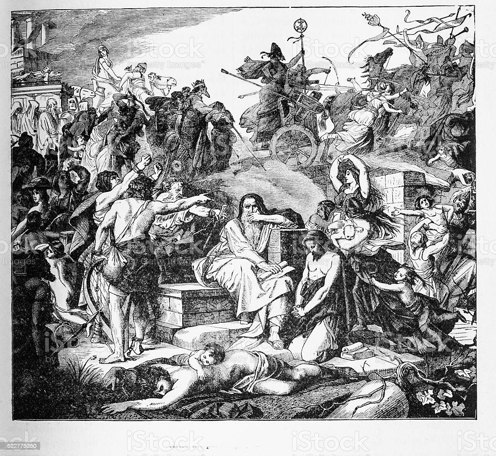 Captive Jews  Led into Babylonia stock photo