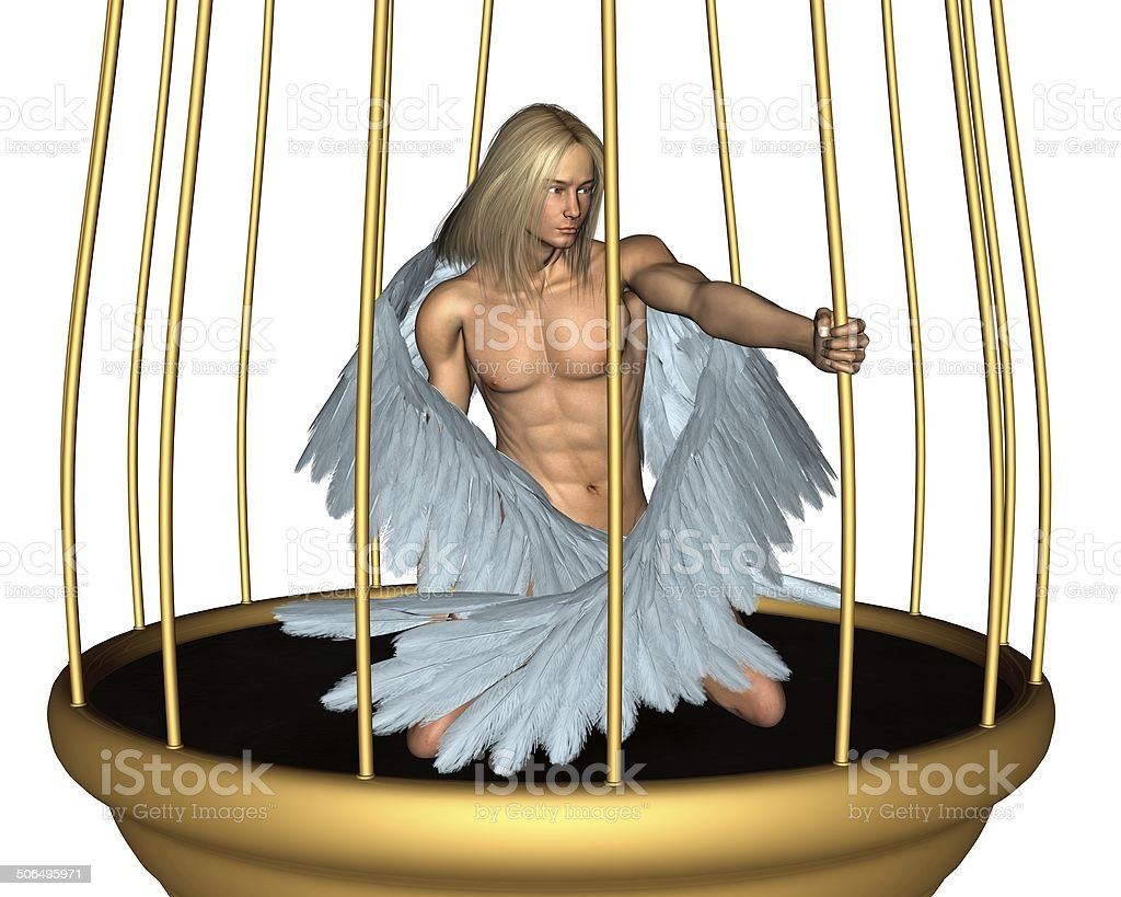 Captive Male Angel in Gold Cage stock photo