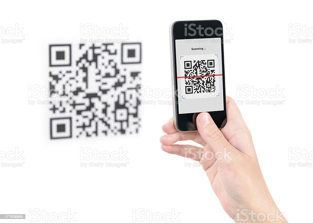 Capture QR code on mobile phone royalty-free stock photo