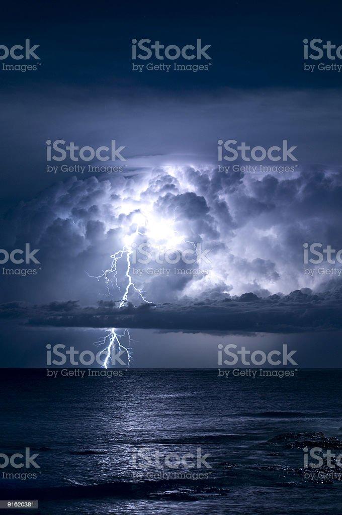 Captured shot of a lightning bolt from a cloud stock photo