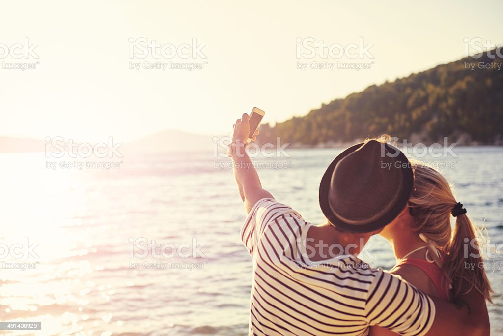 Capturing a blissful beach moment stock photo