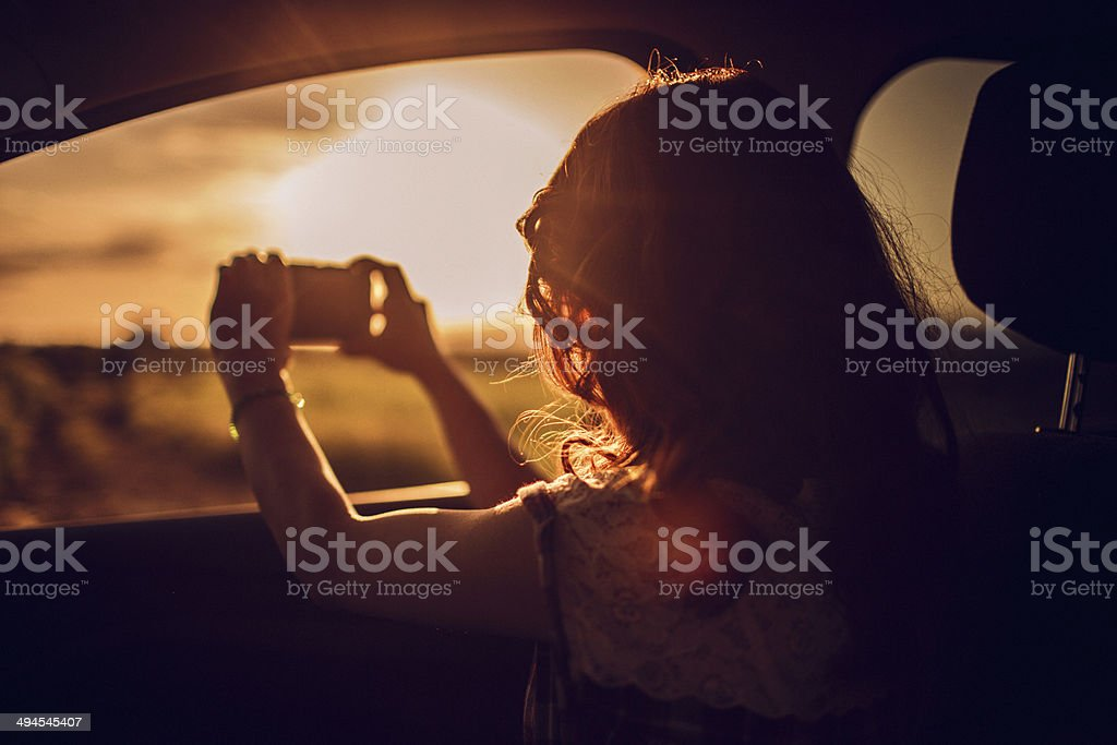 Capturing a perfect road trip moment stock photo